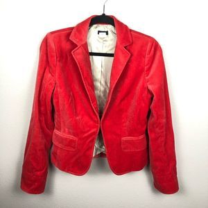 Jcrew red velour fabric blazer